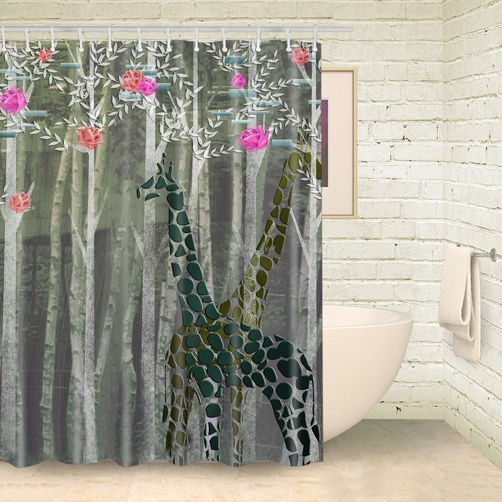 Online store foog dusk green forest shower curtains for Forest green curtains drapes