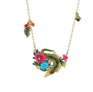 Gudeke Fashion Womens Zircon Flowers Green Enamel Alligator Crocodile Necklace Pendant 52cm Chain(Adjustable)