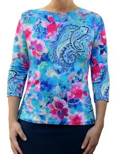 Kosher Casual Women's 3/4 Sleeve Crewneck Shirt Small Blue Turquoise Paisley