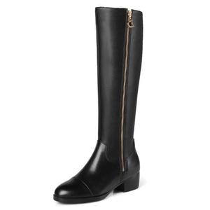 MERUMOTE Women's Autoisg Round Toe Square Heels Genuine Leather Knee-High Boots Black 5 US