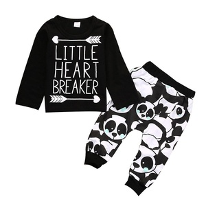 BANGELY Baby Boys Cotton Letters Print Long Sleeve T-shirt Tops Pants Outfits Set