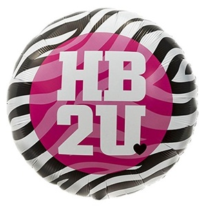 18 Inch Pink Black Zebra Stripe Style Party HB2U Happy Birthday Round Foil Balloon by Northstar Balloons