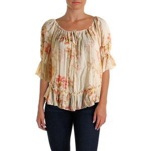 Denim & Supply Ralph Lauren Womens 3/4 Sleeves Peasant Top Beige XXS
