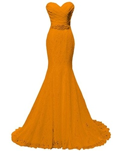 Women's Beaded Pleat Lace Wedding Dress Mermaid Bridal Gown with Sash Orange