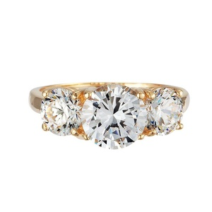 GR01195 SOLID 14K YELLOW OR WHITE GOLD 3.5CT TW 2CT CENTER / 0.75CT EACH SIDE BRILLIANT CUT ROUND CUBIC ZIRCONIA THREE STONE RING (white-gold, 4.5)