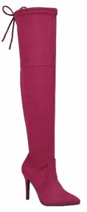 Forever Alexia-6 Pointy Toe Stretch Pull On Over Knee Thigh High Stiletto Heel Boot Burgundy 9