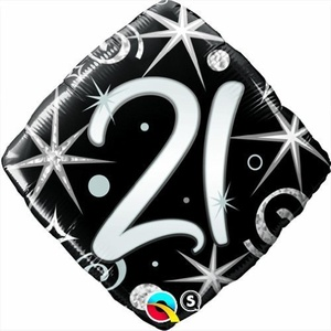 Qualatex Black & Silver Elegant Sparkles & Swirls 21st Birthday 18 Foil Balloon by Black/Silver/White Balloons & Decorations