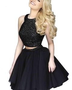 YinWen Women's A Line Halter Rhinestone Two Piece Homecoming Formal Prom Dress Size 4 US Black