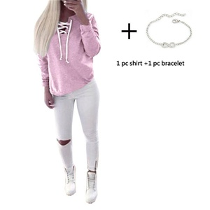Pullover Sweatshirt, Misaky Women Autumn Long Sleeve Lace-up Tops Blouse (S, Pink)
