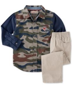 Kids Headquarters Baby Boys' 2-Piece Long Sleeve Camo Shirt & Pants Set