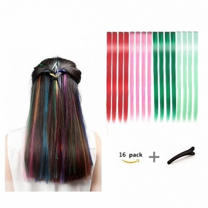 FESHFEN Straight Clip on in Hair Extensions Hairpieces 18 Inches Long Remy Hair Colored Party Highlights Hair Accessories-4 Colors, 16 Pcs-With Hairpin