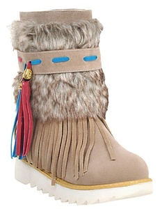 IDIFU Women's Ethnic Fringed Faux Fur Lined Flat Slip On Winter Boots Ankle High Snow Booties Beige 10.5 B(M) US