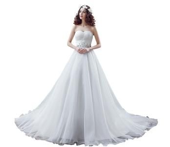 Jianda Wedding Bridal Gown Sweetheart Beads A-line Court Train Women's Bride Dresses 2 US White