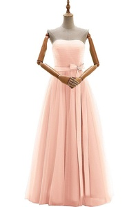 Gorgeous Bridal Long Strapless Tulle Formal Prom Evening Gown with Bow Lace Up- US Size 6