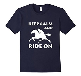 Men's Keep calm and ride on T Shirt Small Navy