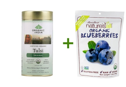 Organic India Tulsi Loose Leaf Tea Canister Original -- 3.5 oz, ( 3 PACK ), Nature's All Foods Organic Freeze-Dried Raw Blueberries -- 1.2 oz