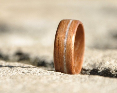 Wooden ring made of walnut wood and seashell inlay. Perfect as a wedding band, engagement ring or promise ring.