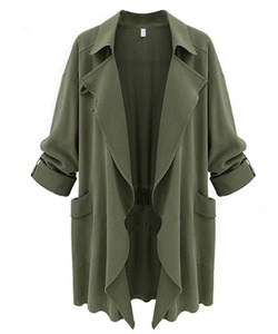 Caat Aycox Women's Lightweight Long Sleeve Open Front Trench Coat XXXX-Large Army Green