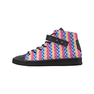 Shoes No.1 Women's Sneakers Lyra Round Toe High-top Shoes Colorful Chevron Retro Pattern For Outdoor