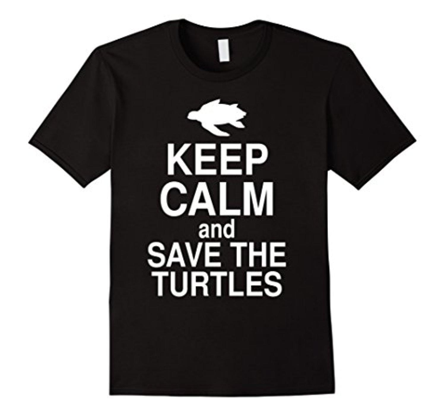 Men's Keep Calm And Save The Turtles Shirt 3XL Black