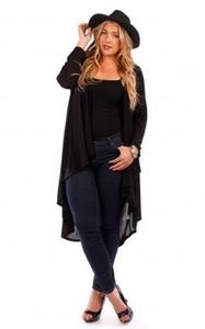 Popular Women's Plus Size Lightweight Draped Open Front Long Cardigan