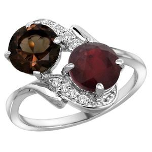 14k White Gold Diamond Natural Smoky Topaz & Enhanced Genuine Ruby Mother's Ring Round 7mm, size 7