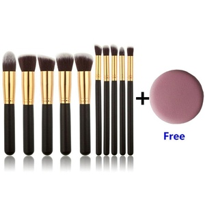 U-beauty 10 pcs Premium Synthetic Makeup Brush Set Cosmetics Foundation Blending Blush Eyeliner Face Powder Brush Makeup Brush Kit With Free Makeup Sponge Blender