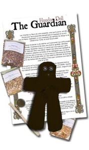 Voodoo Hoodoo Doll Kit of the Guardian Positive Energy Black Doll of Felt by Raven Blackwood