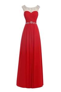 Dora Bridal Women´s Long Prom Gown Waist Beaded Sheer Chiffon A-Line Maxi Dress US10