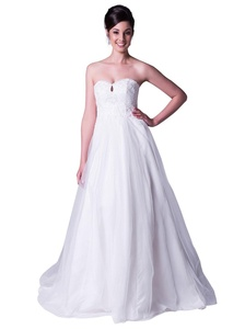 JOYNO BRIDE Women's Double Strapless Tulle Applique Empire Chapel Train Wedding Dress (6, Ivory)