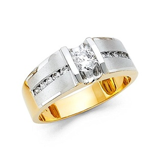 14K Solid Gold Brilliant Round Cut Cubic Zirconia with Channel Set Side Stone Men's Ring, Size 6