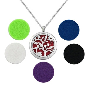 Q&Locket Stainless Steel Family Tree Of Life Premium Aromatherapy Essential Oil Diffuser Necklace Locket