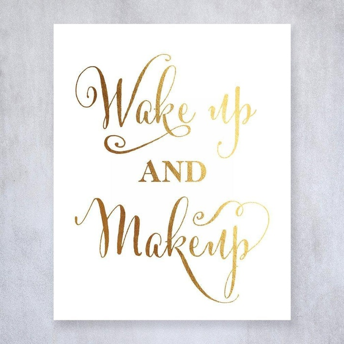 Online Store: Wake Up And Makeup Gold Foil Art Print Make