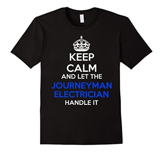 Men's Keep calm and let the Journeyman Electrician handle it shirt XL Black