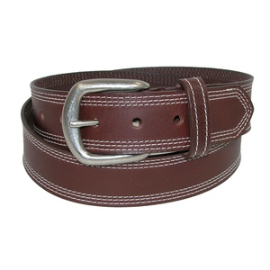 Boston Leather Men's Leather Contrast Triple Stitch Bridle Belt, 38, Brown