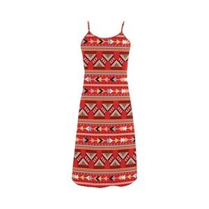 Abbie Miller Bohemian Stlye Custom Women's Polyester Casual Slip Dress Red A