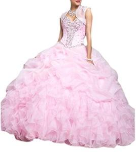 YinWen Women's Sweetheart Organza Ball Gown Sweet Sixteen Prom Quinceanera Dress Size 2 US Pink