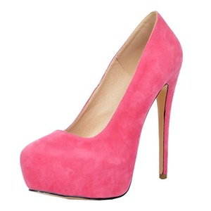 VASHOP Women's Suede Round Toe High Heels Platform Slender Stiletto Pumps Dress Party Shoes,Rose/7