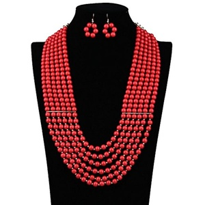 ARICO Ruby Jewelry Multi Layer Necklace Set Earrings Long African Wedding Beads Pearl Jewelry African Beads Jewelry Set NE913