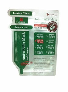2 Mask sheets of Leaders Clinic, Anti-trouble Mask with Green Tea.