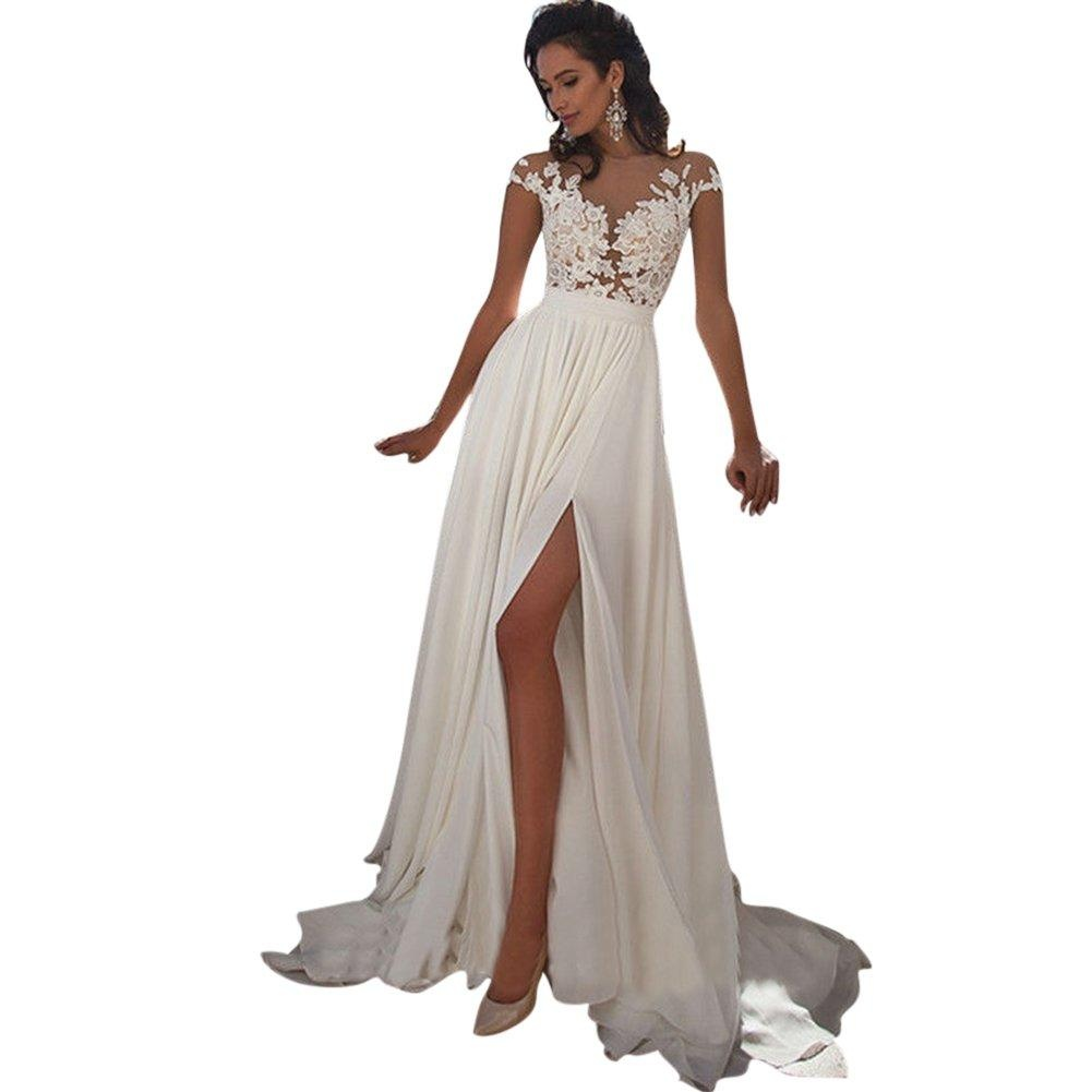 JoyVany See-through Back Applique Cap Sleeves Wedding Dresses with High Slit White Size 20W