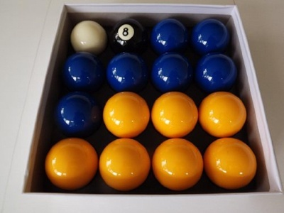 Blues & Yellows Pub Pool Table Balls by 2 Blues & Yellow pool table balls with a 1-7/8 White cue ball