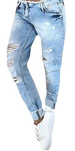 Ybenlow Women's Relaxed Destroyed Ripped Washed Denim Jeans Pants