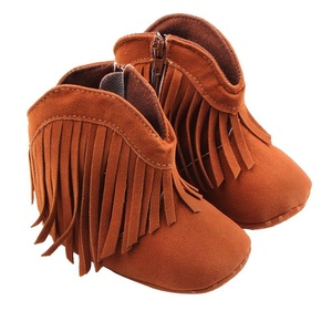 Newborn Baby Girl Tassel Boots Prewalker Shoes Handsome Cowboy Style with Soft Sole, First Walking Shoes - Coffee, 13cm (9-12 months)