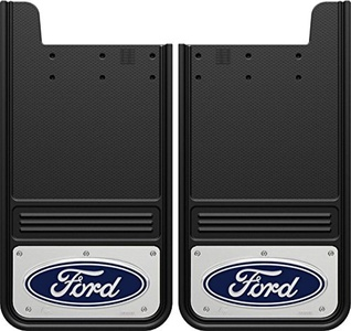 Gatorback Ford Blue Logo Mud Flaps with Aluminum Hardware - 2-Pc Rear Set - GA1223F-C