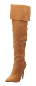Women's Sweet Pointy Toe Suede Over the Knee Thigh High Stiletto High Heel Zipper Boots Camel Size 10 EU42