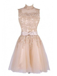 Winnie Bride Vintage Lace Cocktail Prom Party Dress for Guest of Wedding Short-6-Champagne