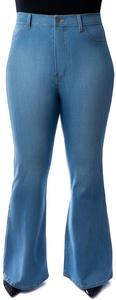 Vibrant Women's Juniors Bell Bottom High Waist Denim Jeans Denim