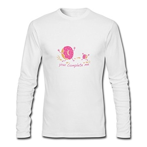 You Complete Me for Men Printed Long Sleeve Cotton T-shirt