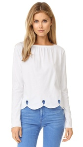 See by Chloe Women's Scallop Trim Tee, White, X-Small